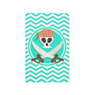 Pirata lindo; Aguamarina Chevron verde Cuaderno Grapado