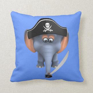 Pirata lindo del elefante 3d editable cojines