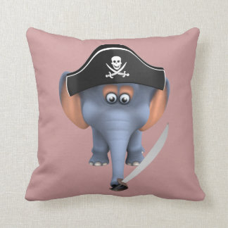 Pirata lindo del elefante 3d editable cojin