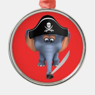 Pirata lindo del elefante 3d editable ornaments para arbol de navidad