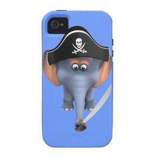 Pirata lindo del elefante 3d editable Case-Mate iPhone 4 carcasa