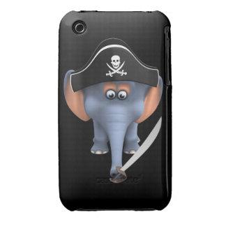 Pirata lindo del elefante 3d editable iPhone 3 cárcasa
