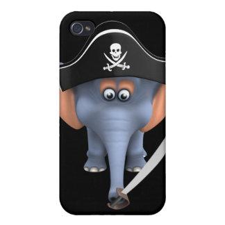 Pirata lindo del elefante 3d editable iPhone 4 protectores