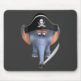 Pirata lindo del elefante 3d editable tapetes de ratones