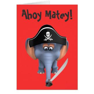 Pirata lindo del elefante 3d editable tarjeton