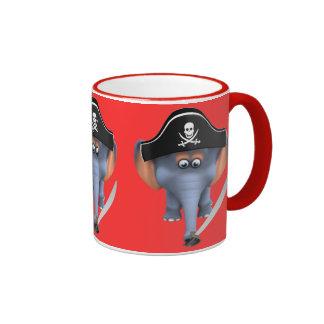 Pirata lindo del elefante 3d editable tazas de café