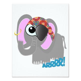 Pirata lindo del elefante de Goofkins Invitación 10,8 X 13,9 Cm