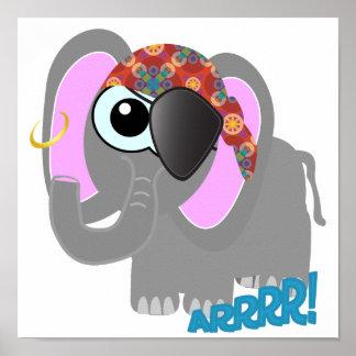 Pirata lindo del elefante de Goofkins Posters
