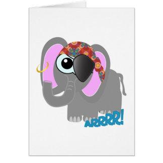 Pirata lindo del elefante de Goofkins Felicitacion