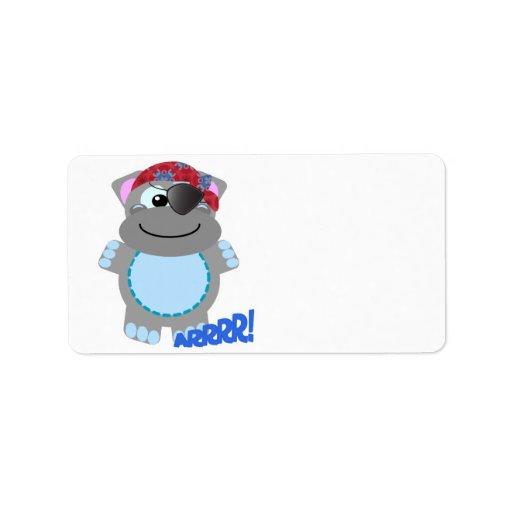 Pirata lindo del hipopótamo de Goofkins Etiqueta De Dirección