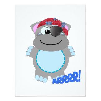 Pirata lindo del hipopótamo de Goofkins Invitación 10,8 X 13,9 Cm
