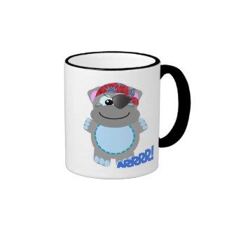 Pirata lindo del hipopótamo de Goofkins Taza A Dos Colores