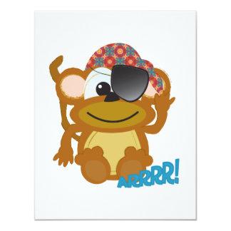 Pirata lindo del mono de Goofkins Invitación 10,8 X 13,9 Cm