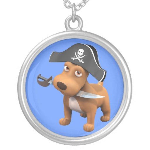 Pirata lindo del perro 3d (editable) colgante redondo