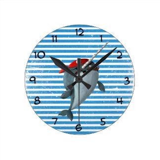 Pirata lindo Narwhal Reloj Redondo Mediano