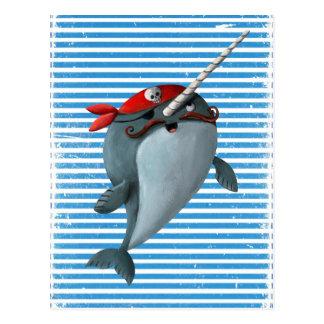Pirata lindo Narwhal Tarjeta Postal