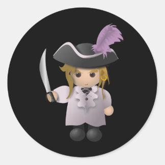 Pirata lindo pegatina redonda
