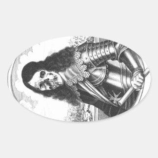 pirata muerto del caballero pegatina ovalada