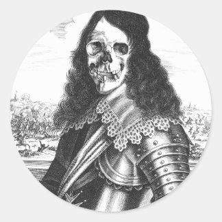 pirata muerto del caballero pegatina redonda