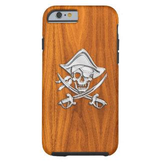 Pirata náutico del cromo en la impresión de madera funda para iPhone 6 tough