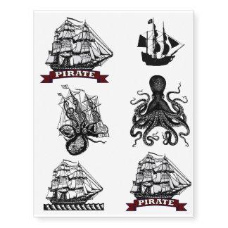 ¡Pirata náutico Tats! Nave del marinero de Kraken Tatuajes Temporales