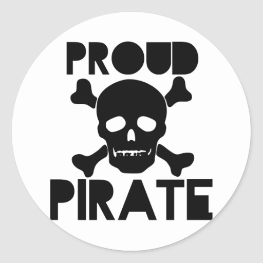 Pirata orgulloso pegatina redonda