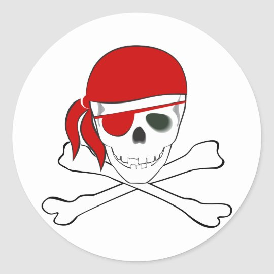 Pirata + Pañuelo rojo Pegatina Redonda