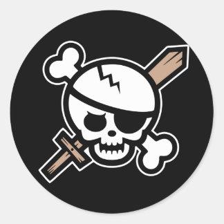 Pirata Pete del pavor Pegatina Redonda