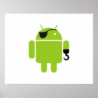 Pirata poderoso del robot androide póster