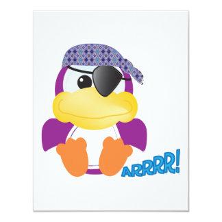 Pirata púrpura lindo de Goofkins ducky Invitación 10,8 X 13,9 Cm