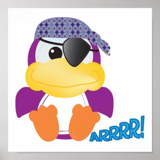 Pirata púrpura lindo de Goofkins ducky Póster