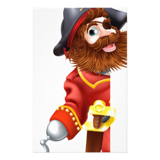 Pirata que mira a escondidas alrededor de muestra  papeleria