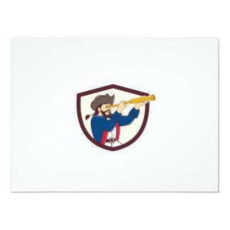 """Pirata que mira el dibujo animado del escudo del invitación 6.5"""" x 8.75"""""""