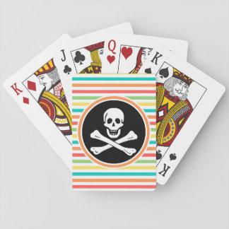 Pirata, rayas brillantes del arco iris baraja de cartas