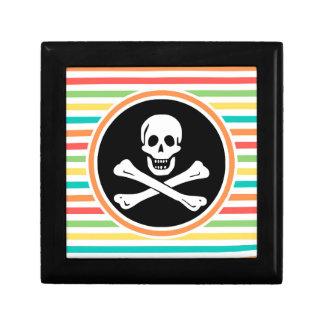 Pirata, rayas brillantes del arco iris cajas de recuerdo