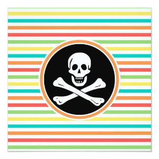 Pirata, rayas brillantes del arco iris invitación