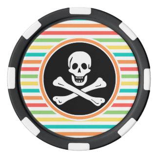 Pirata, rayas brillantes del arco iris juego de fichas de póquer