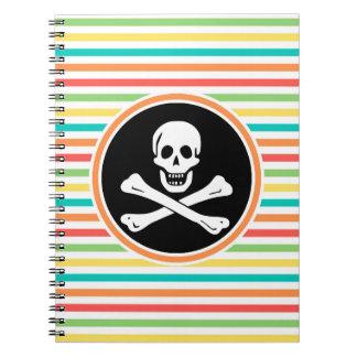 Pirata, rayas brillantes del arco iris libro de apuntes