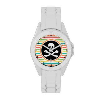 Pirata rayas brillantes del arco iris relojes de pulsera
