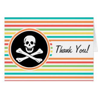 Pirata, rayas brillantes del arco iris tarjetas