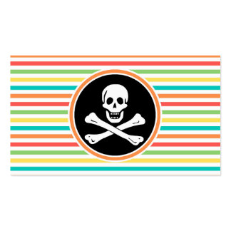 Pirata, rayas brillantes del arco iris tarjetas de visita
