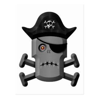 Pirata Rogelio alegre del robot que frunce el ceño Postal