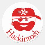 Pirata rojo de Hackintosh OSX86 Etiqueta Redonda