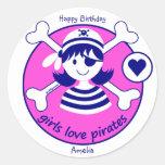Pirata rosado brillante moderno lindo del chica pegatina redonda