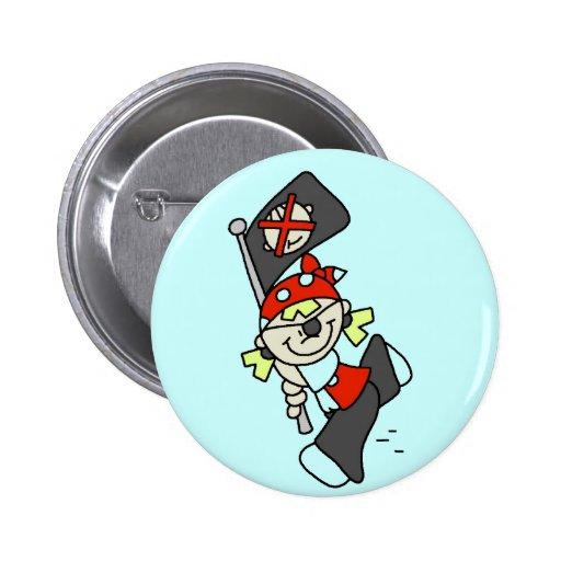 Pirata rubio con las camisetas y los regalos de la pin redondo 5 cm