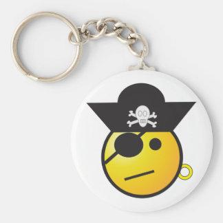 Pirata sonriente amarillo de la cara con el gorra, llavero personalizado