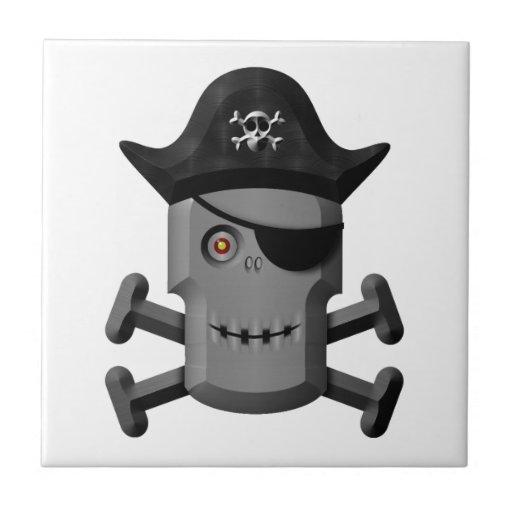Pirata sonriente Rogelio alegre del robot Azulejos