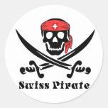 Pirata suizo pegatina redonda