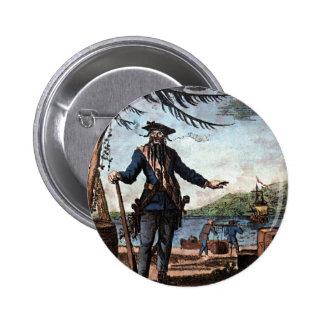 ¡Pirata temible Blackbeard! Pin Redondo De 2 Pulgadas