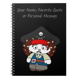 Pirata torpe del dibujo animado libros de apuntes